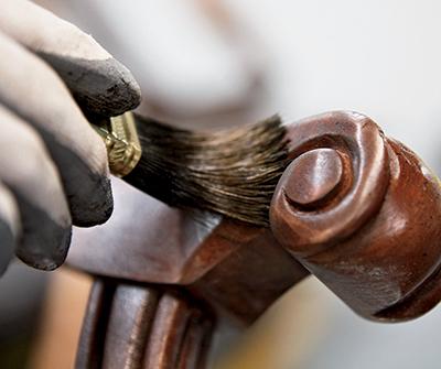 brush applying furniture finish