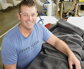 employee tufting upholstery