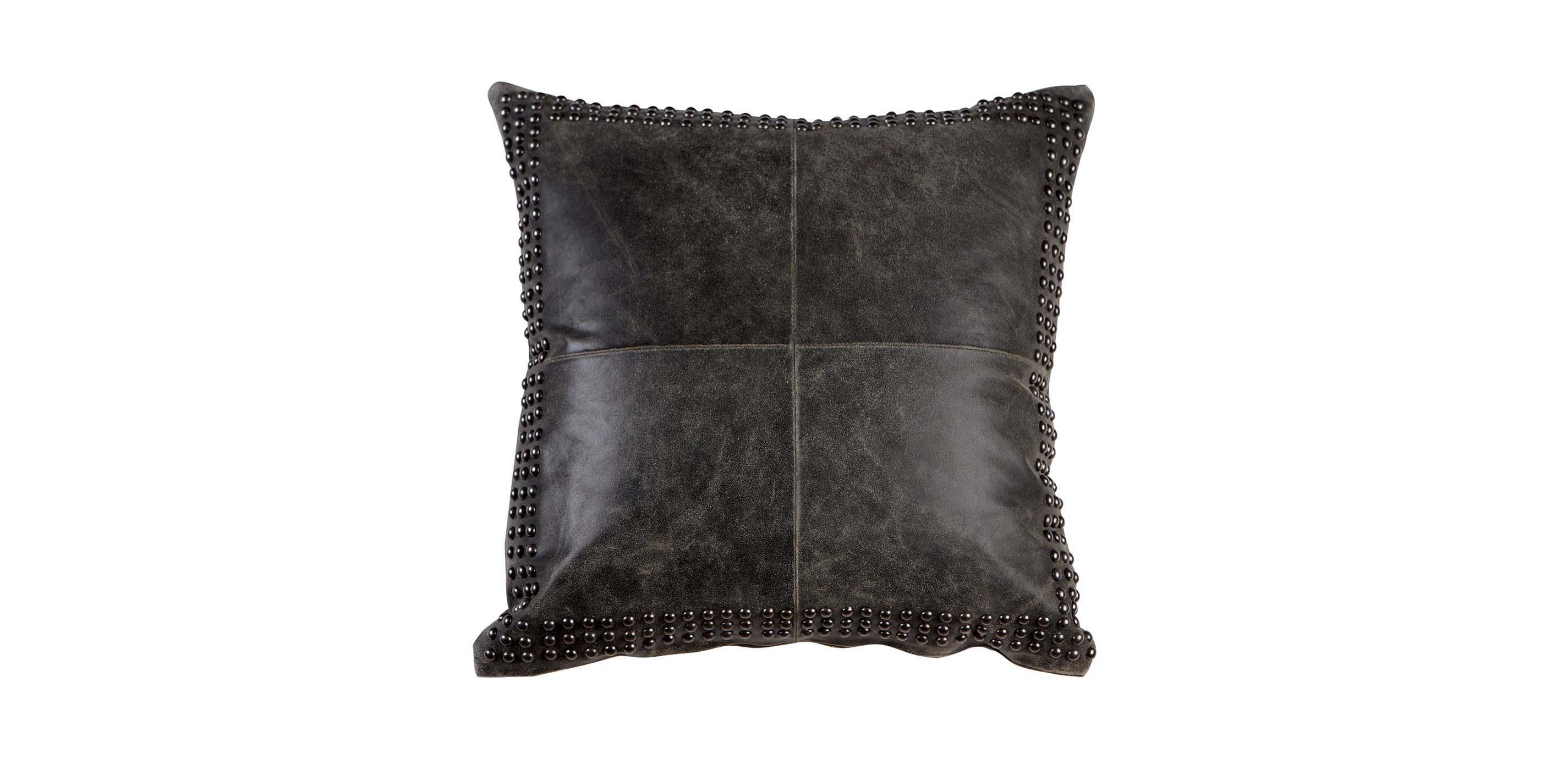 Black Worn Leather Pillow Ethan Allen