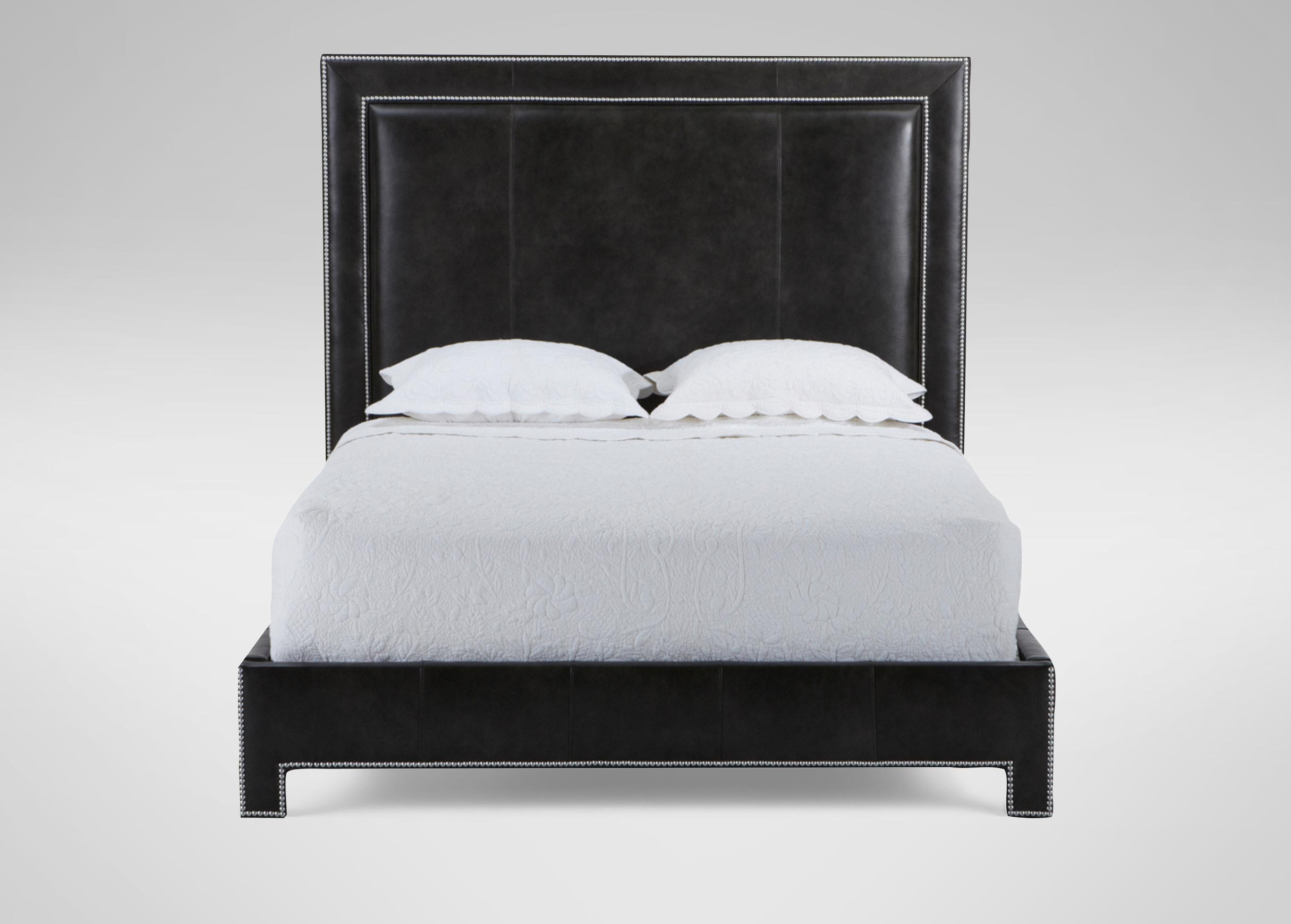 Images Jensen Leather Bed Large Gray