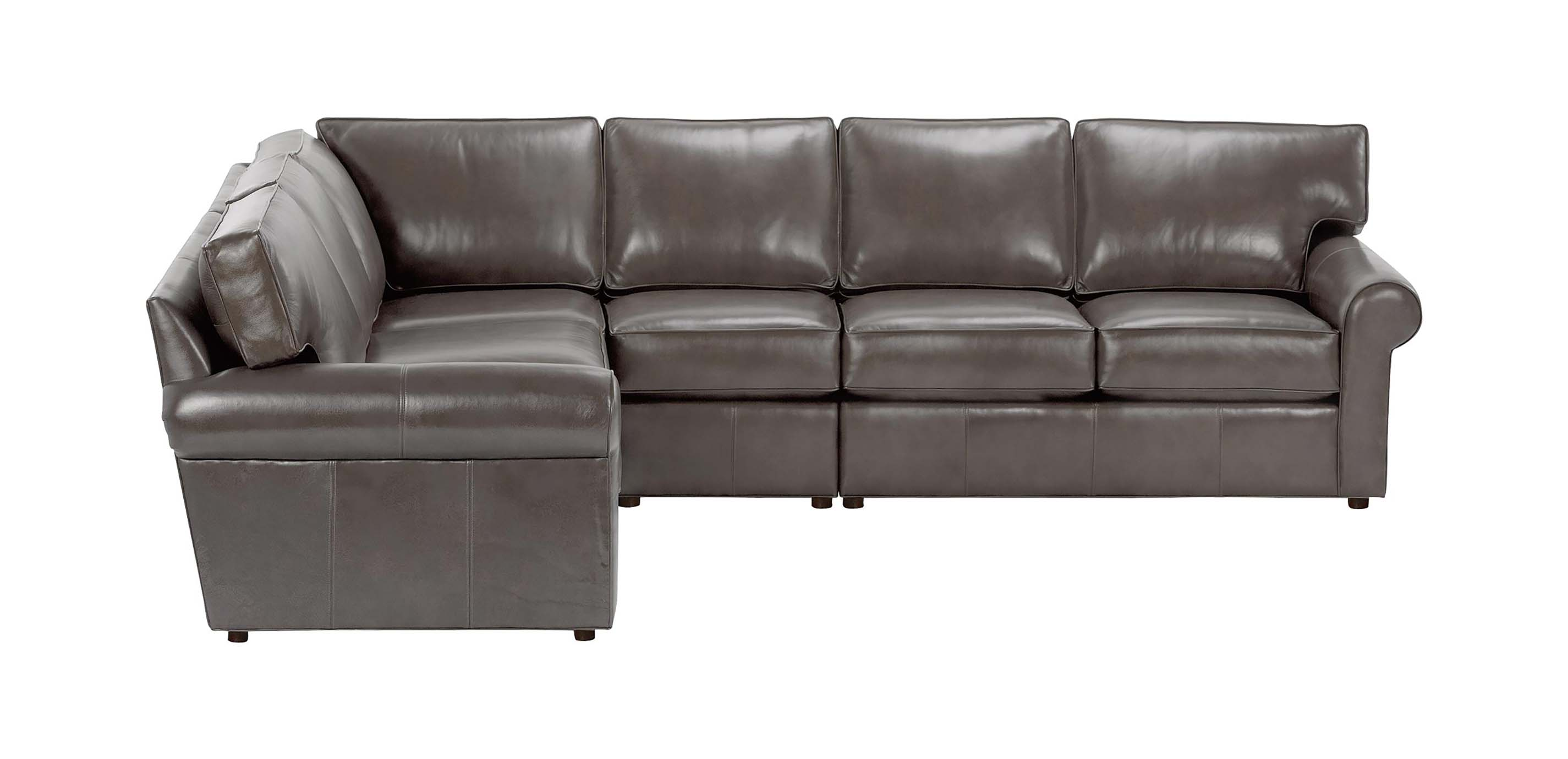 Retreat Roll Arm Leather Four Piece Sectional Quick Ship