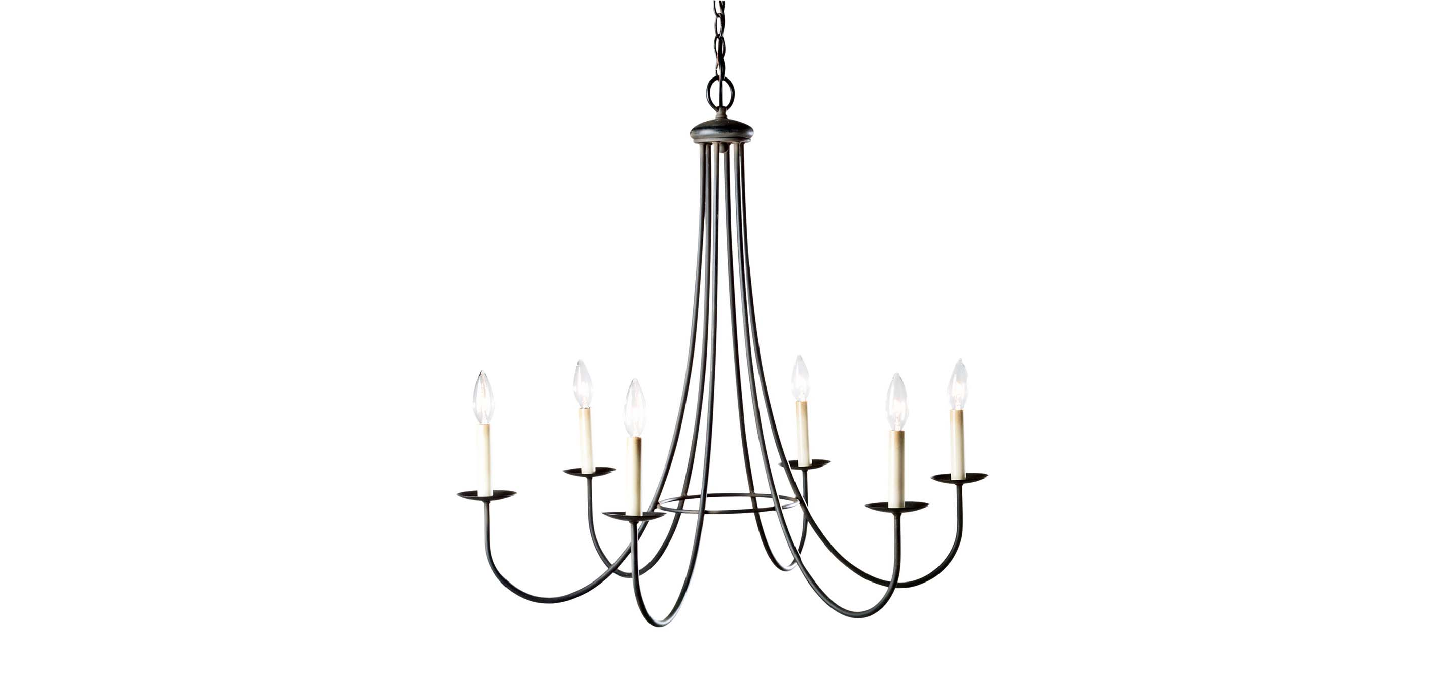 Six Light Iron Chandelier Chandeliers
