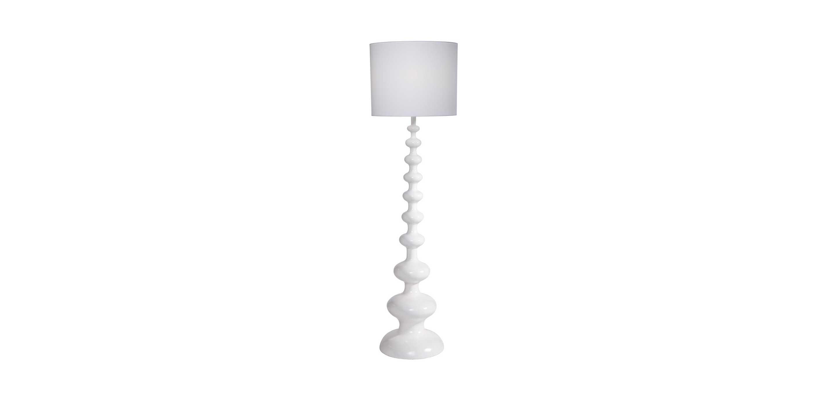 Modern Spindle Floor Lamp, Snow | White Gloss Floor Lamp | Ethan Allen