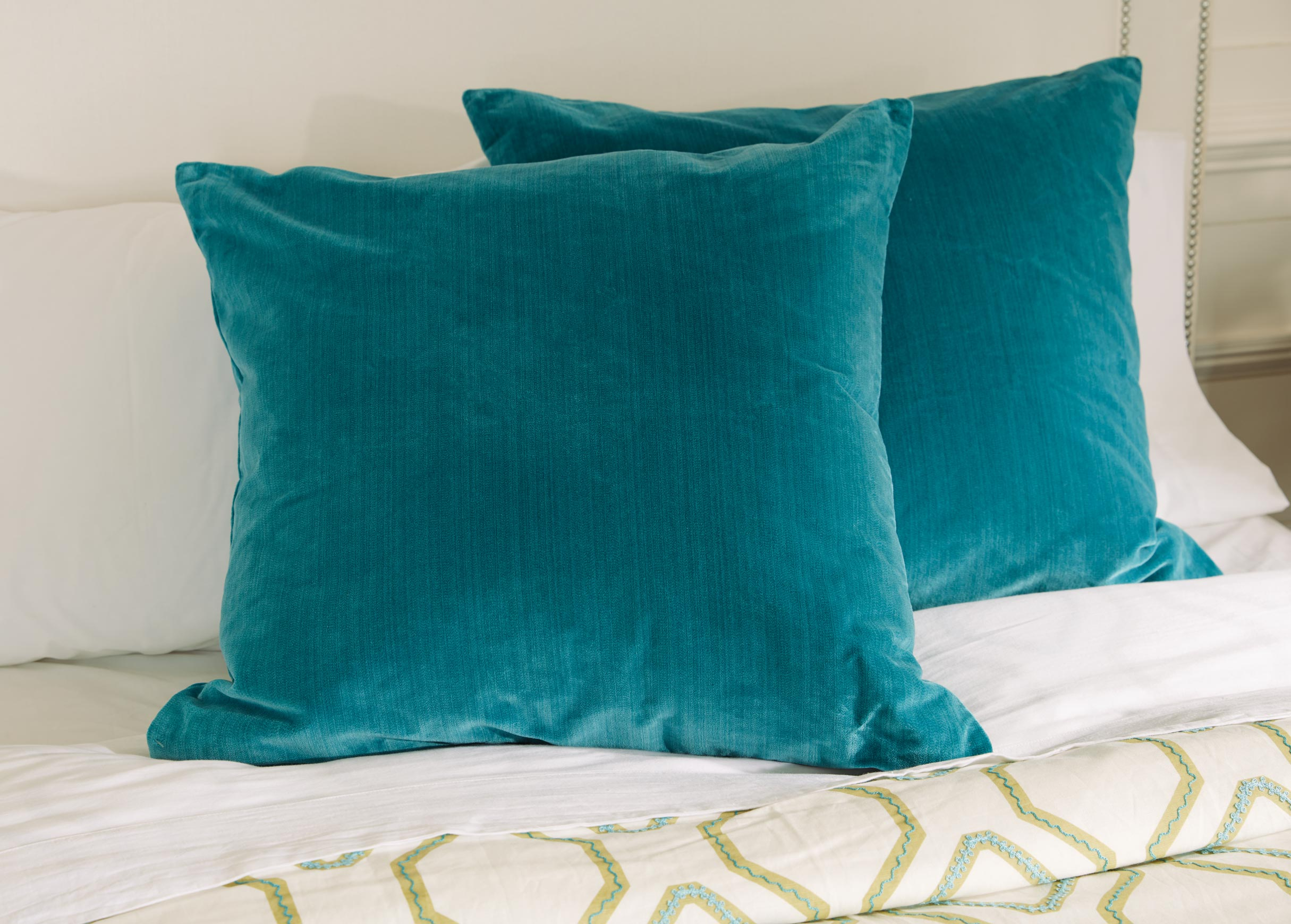 Velvet Strie Euro Sham Pillow And Lumbar Pillow Ethan