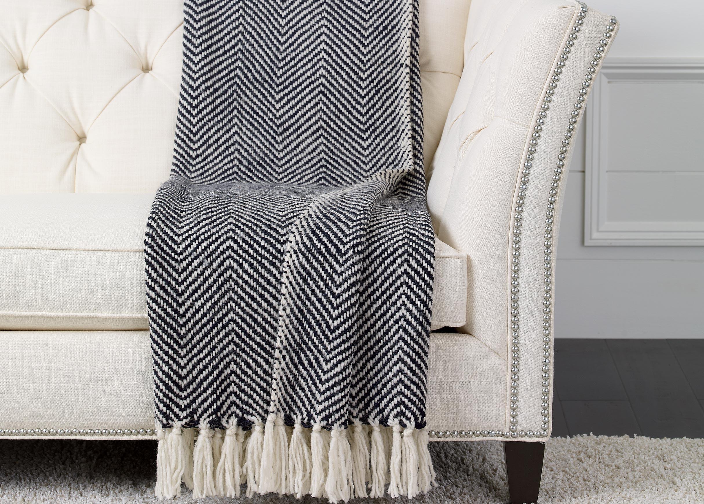 Herringbone Knit Throw Black White Throws Ethan Allen