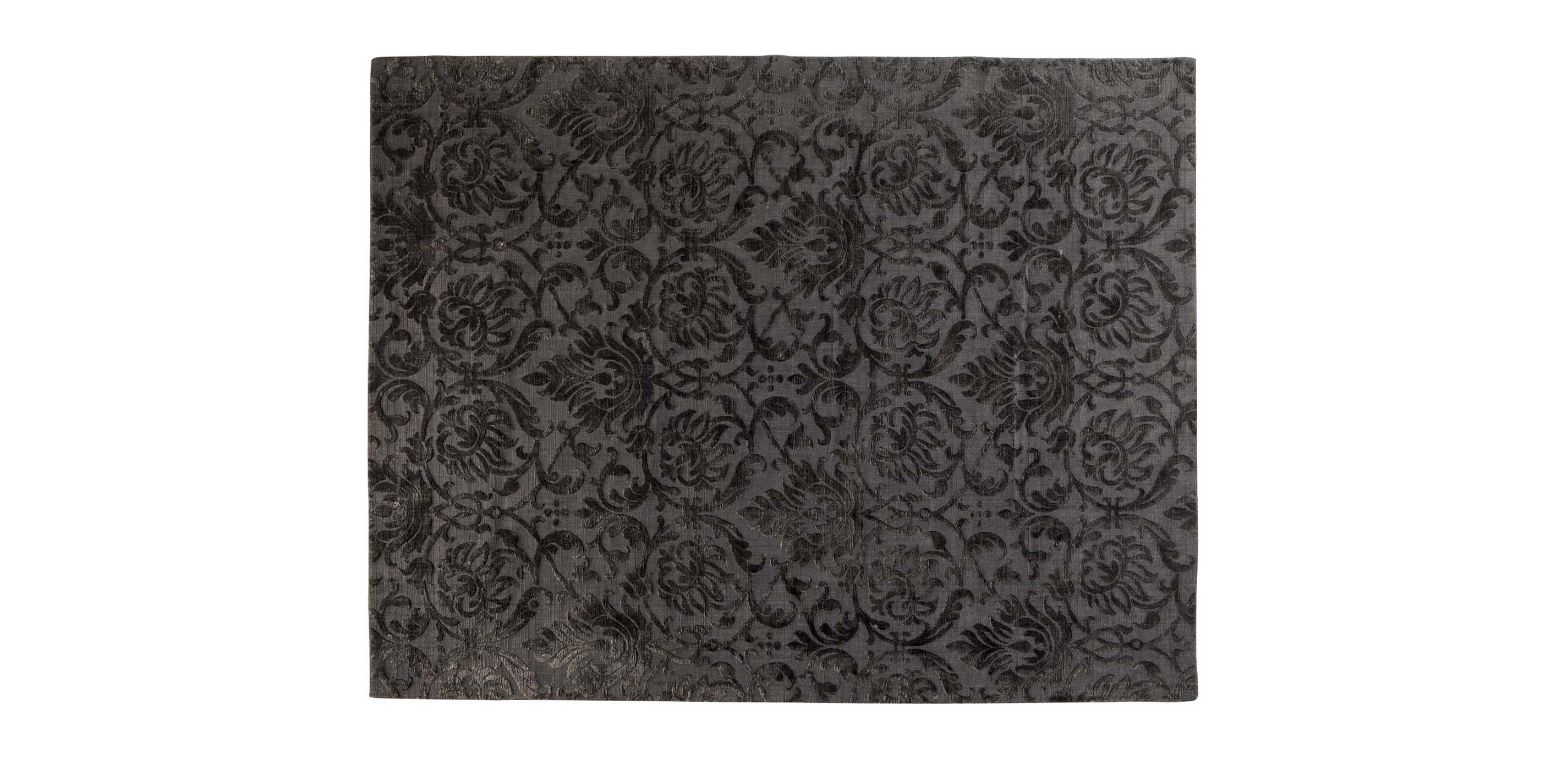 Jacquard Damask Rug In Charcoal