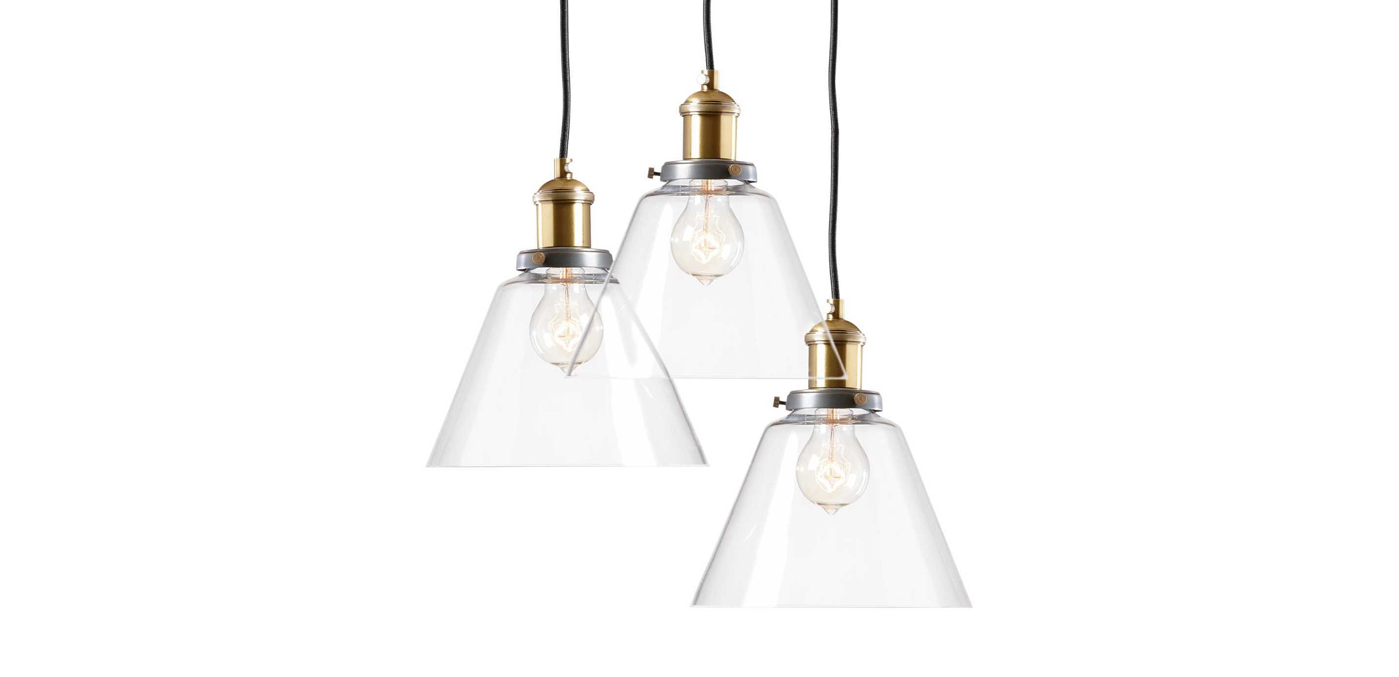 Kinsey cone three light pendant pendants ethan allen