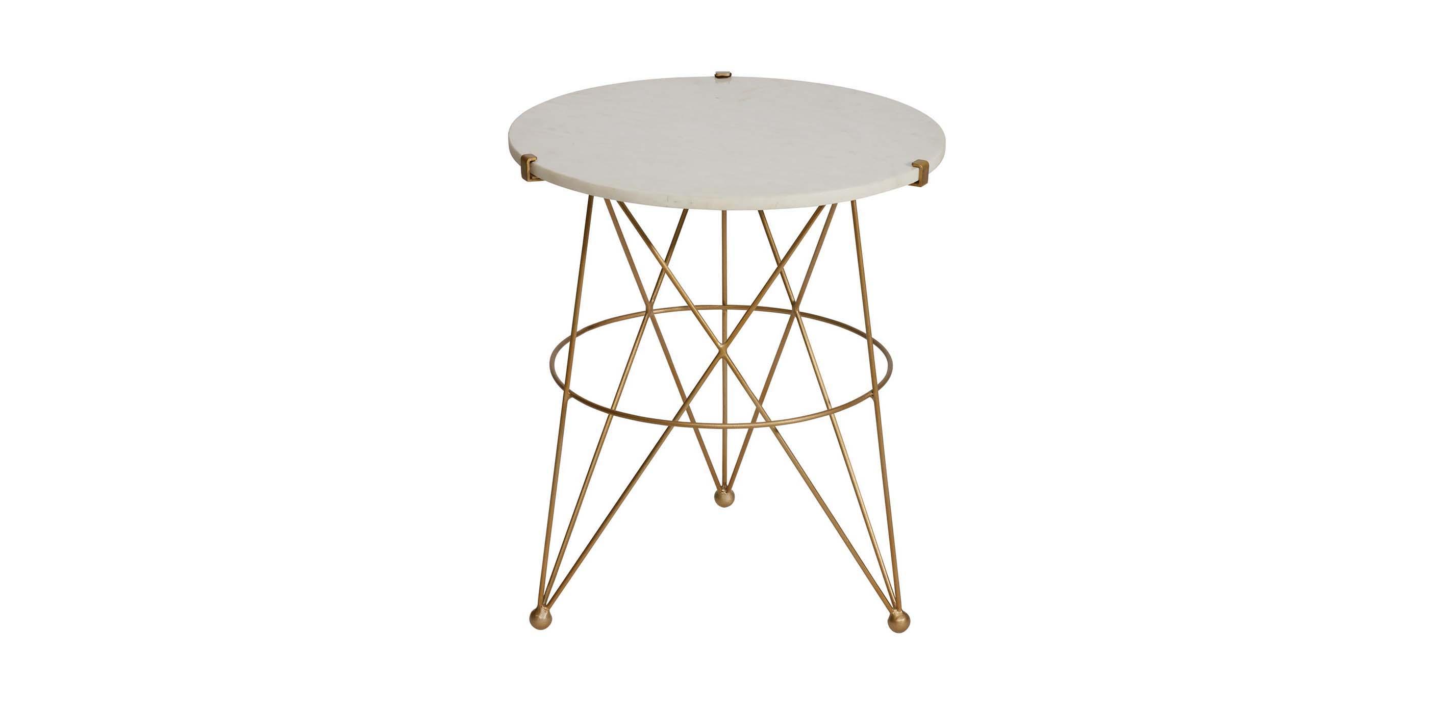 - Estella Marble-Top Modern Handmade Accent Table Ethan Allen