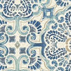 Blue Florentine Tile Wallpaper