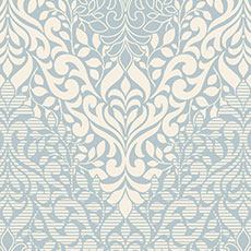 Blue with White Folklore Wallpaper