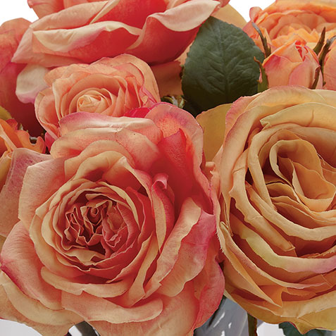 Orange Mixed Roses in Glass