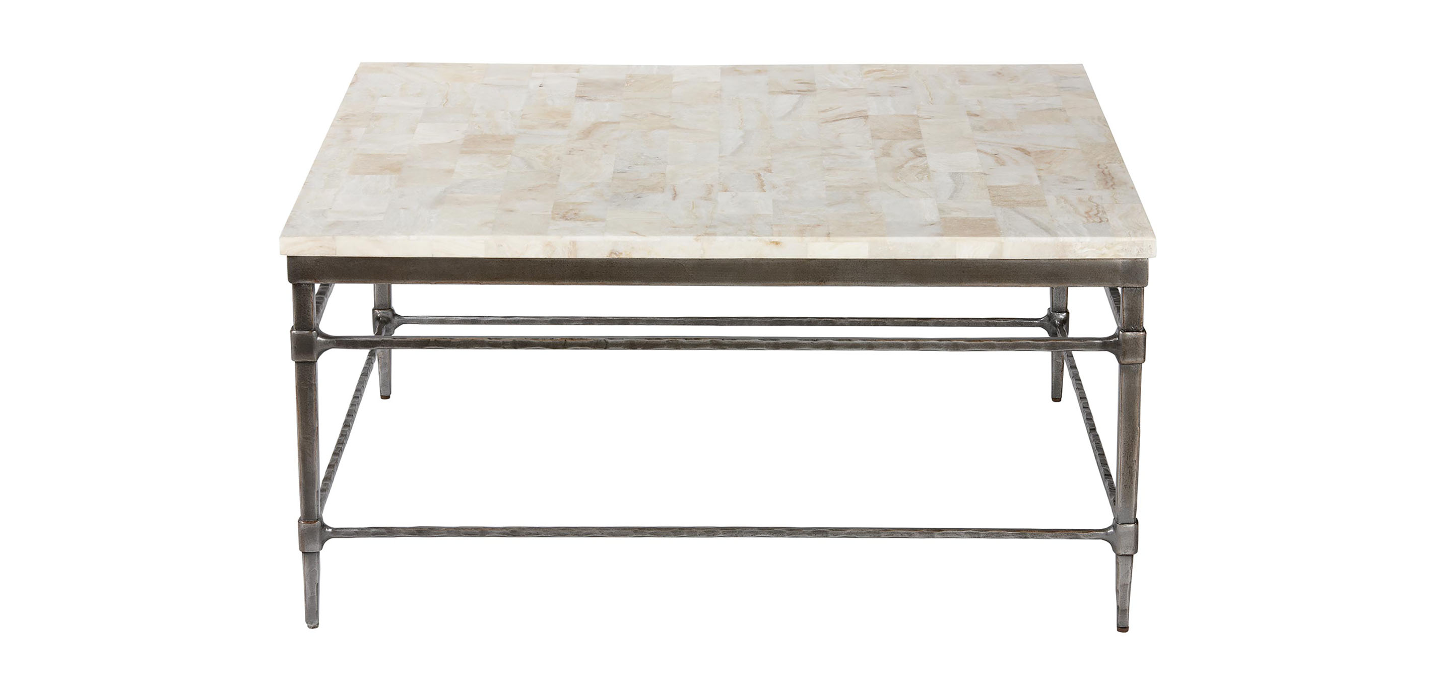 Vida square stone top coffee table coffee tables ethan for Stone topped coffee tables