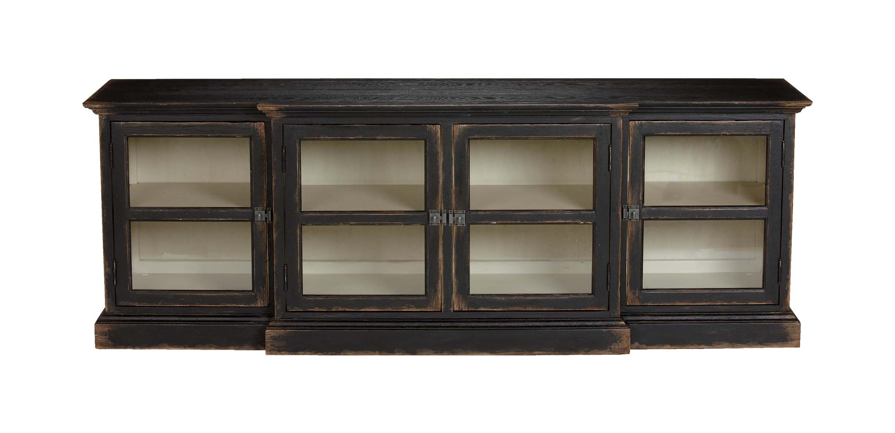 Farragut Media Cabinet Rustic Black With White Interior