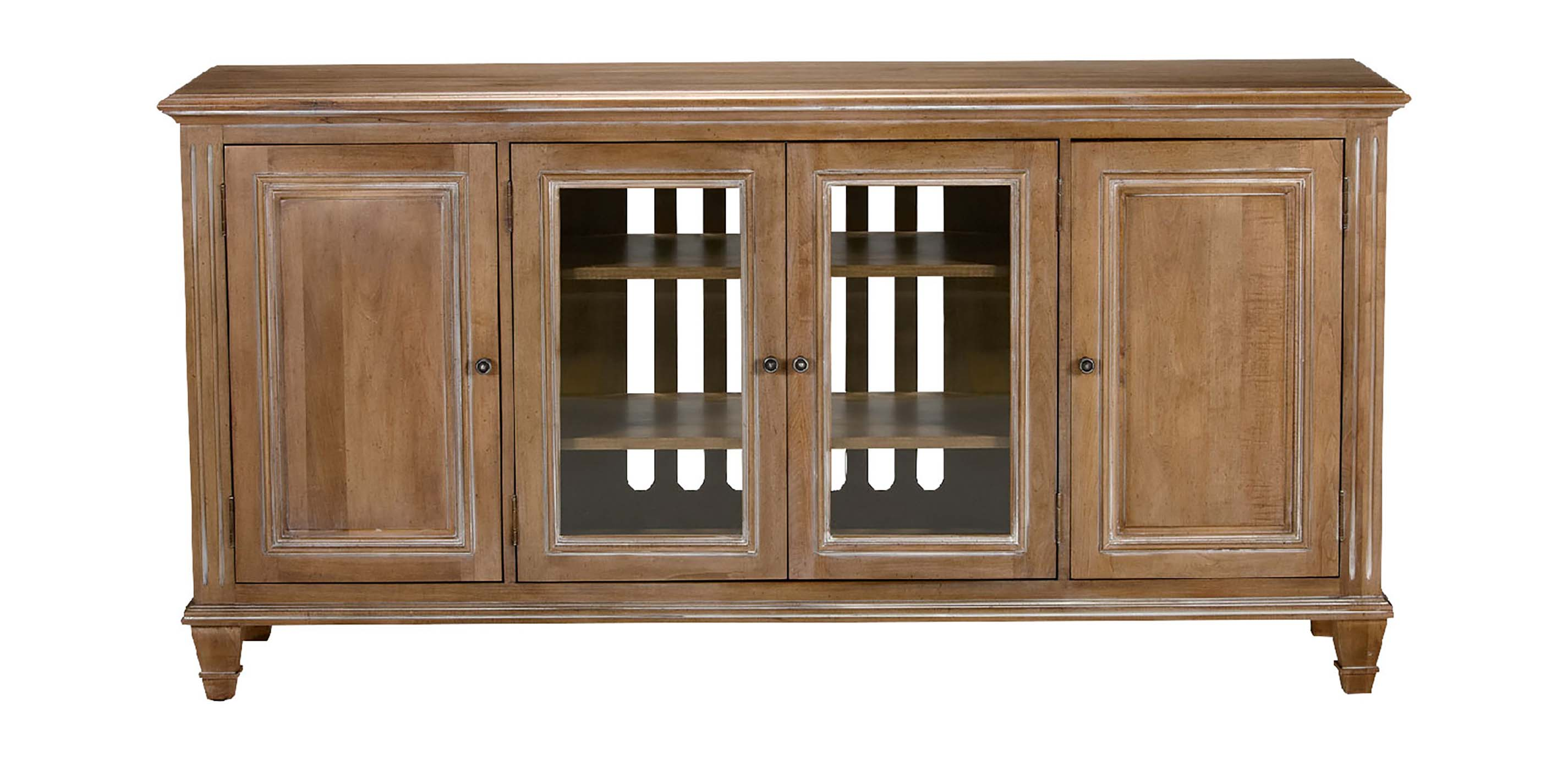 HERITAGE OAKRIDGE HUTCH WITH 4 GLASS DOORS - Green Gables