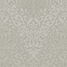 Metallic Gray with Off-White Folklore Wallpaper