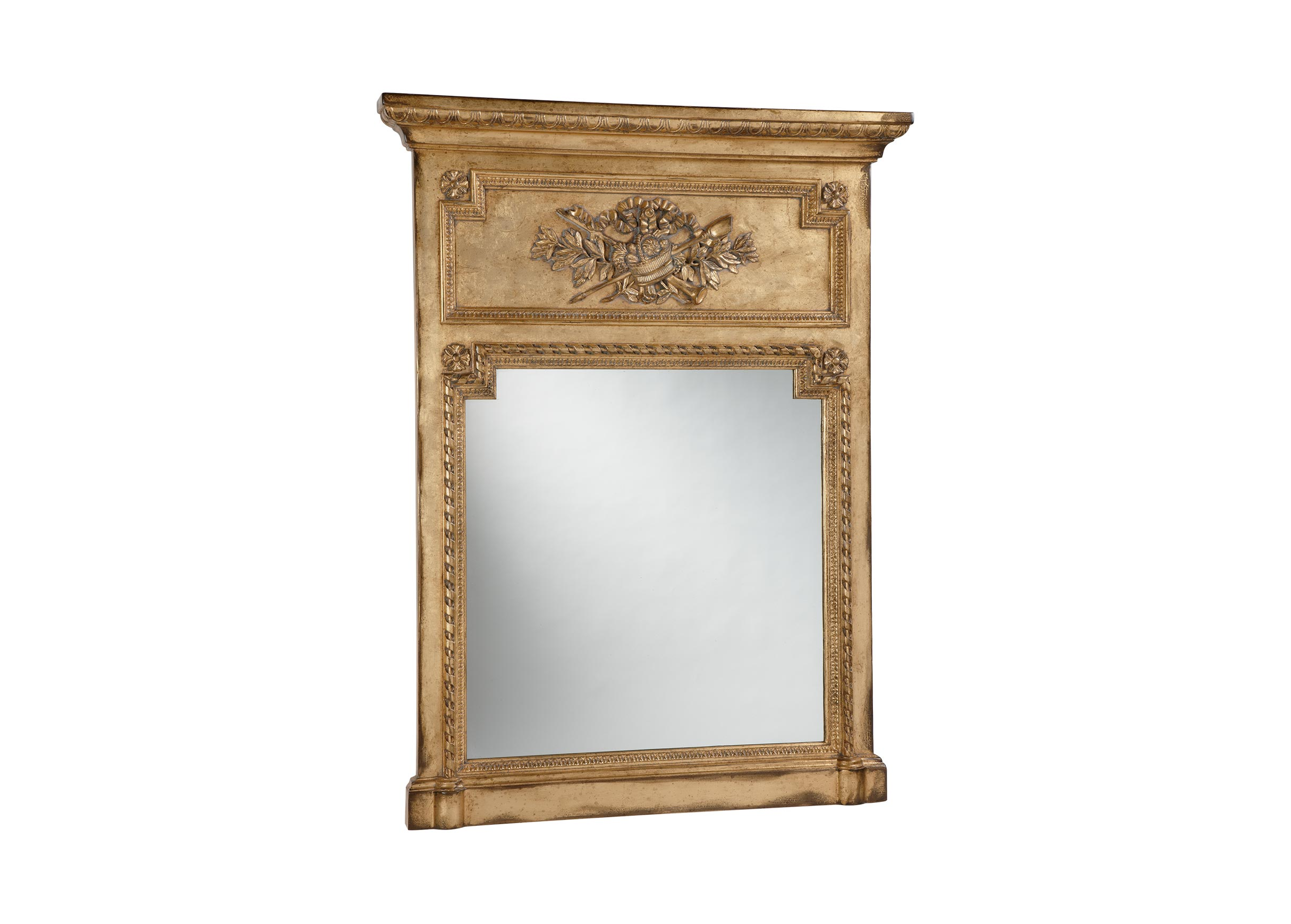 Antique gold madeleine trumeau wall mirror mirrors for Gold wall mirror