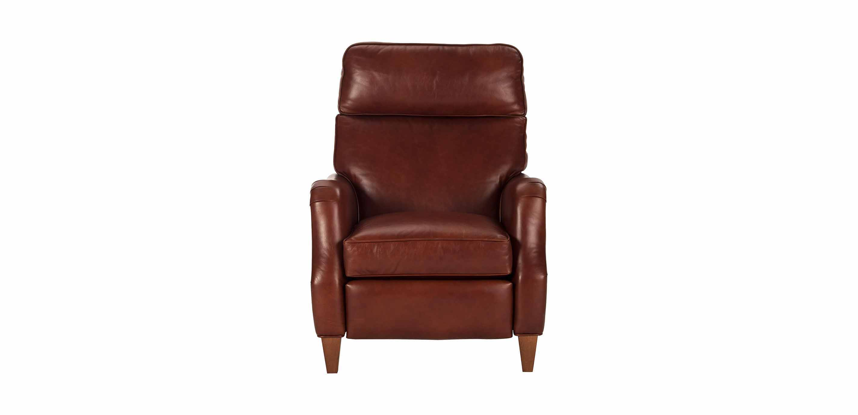 Aiden Leather Recliner, Old English/Saddle | Recliners ...