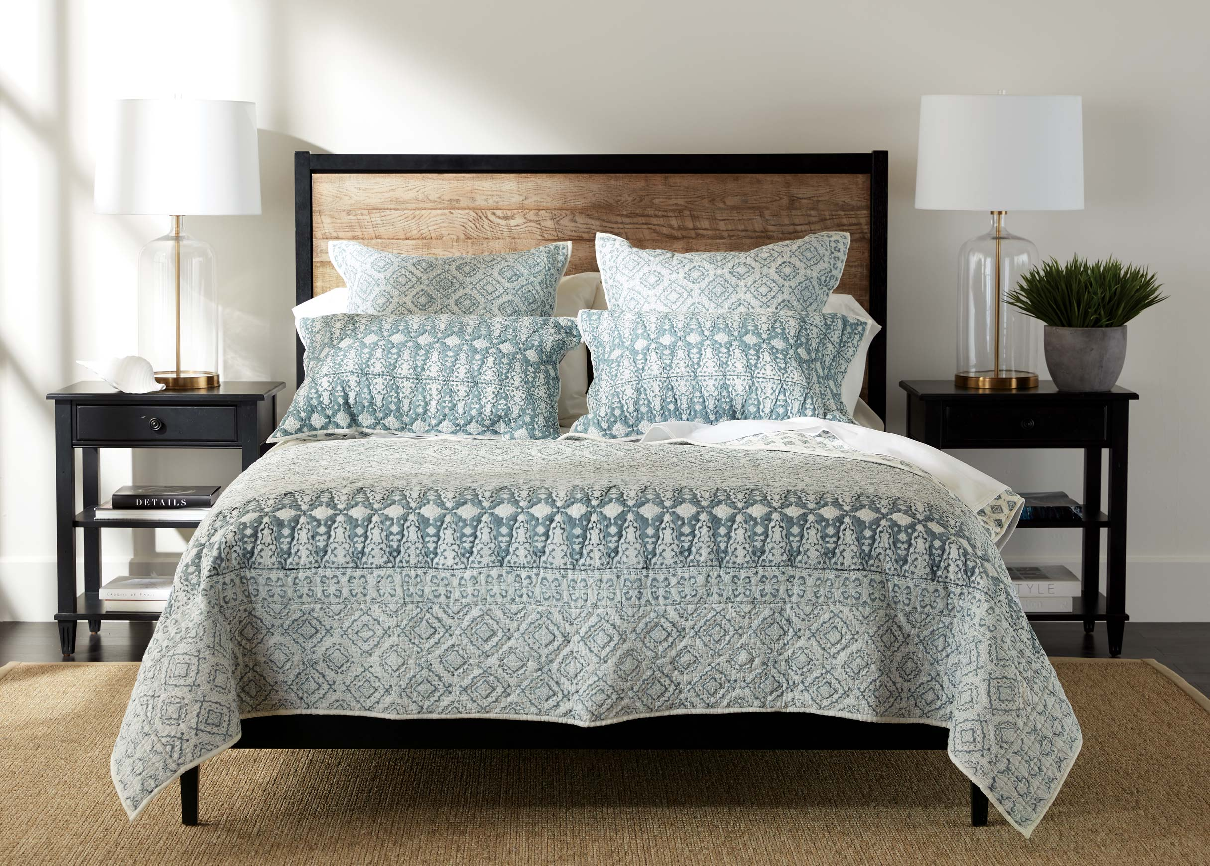 syndi block print quilt and sham quilts comforters. Black Bedroom Furniture Sets. Home Design Ideas