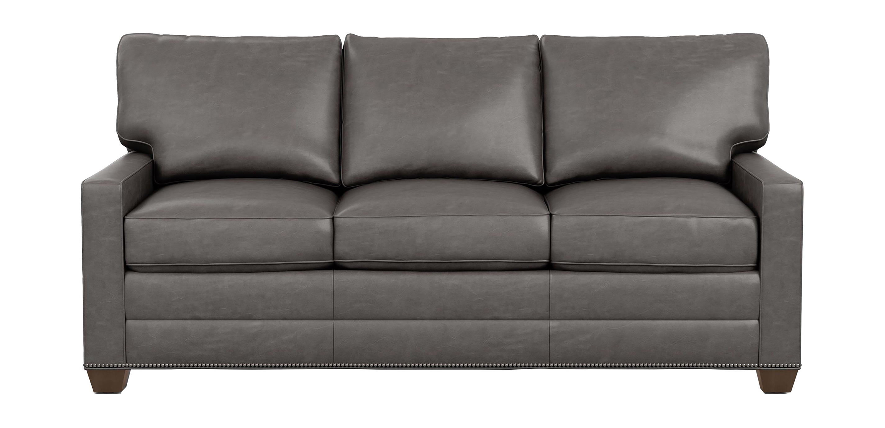 Leather Furniture Traveler Collection: Bennett Track-Arm Leather Three Seat Sofa