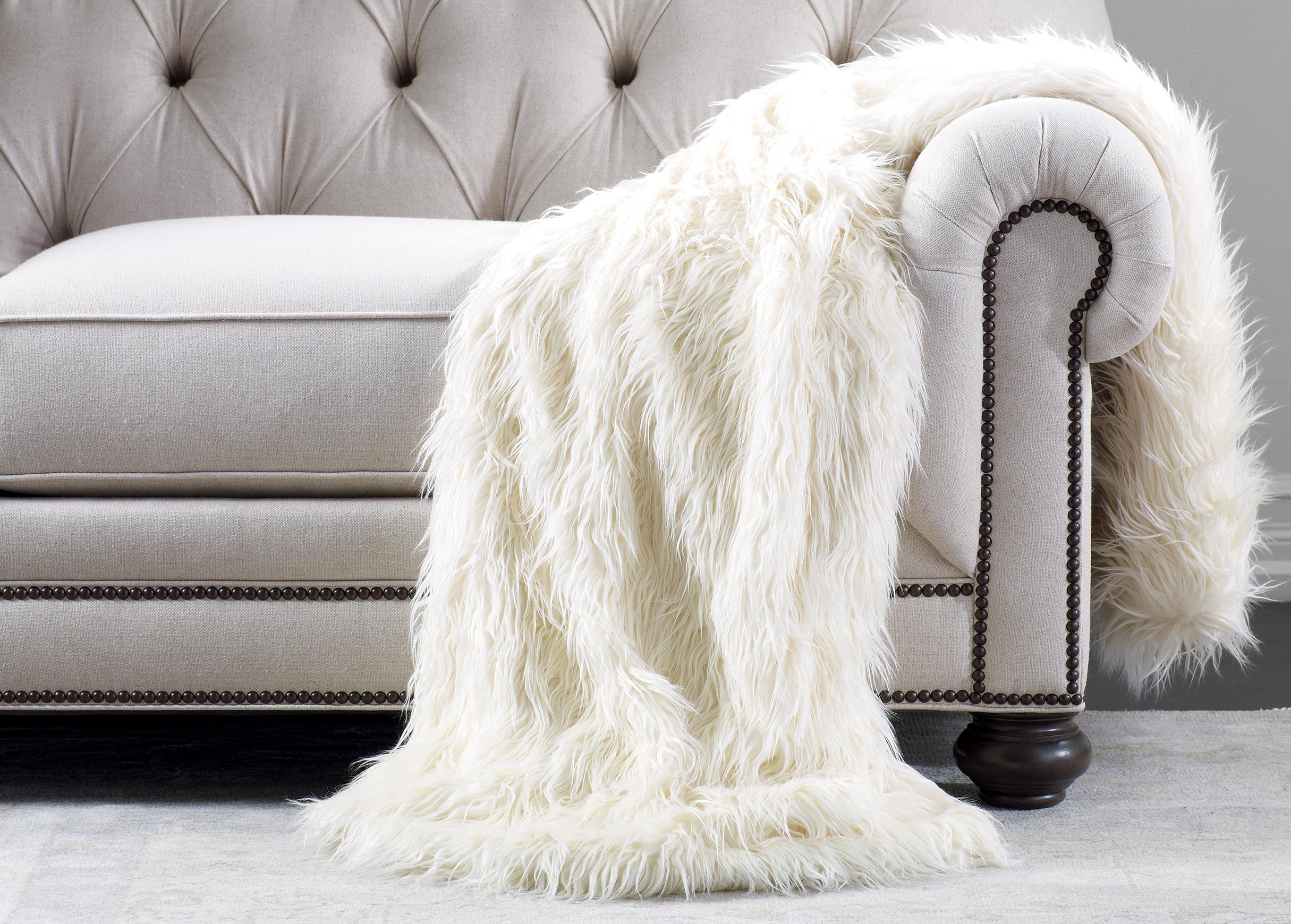 Ivory Faux Fur Throw Throws