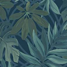 Blue Nocturnum Leaf Wallpaper