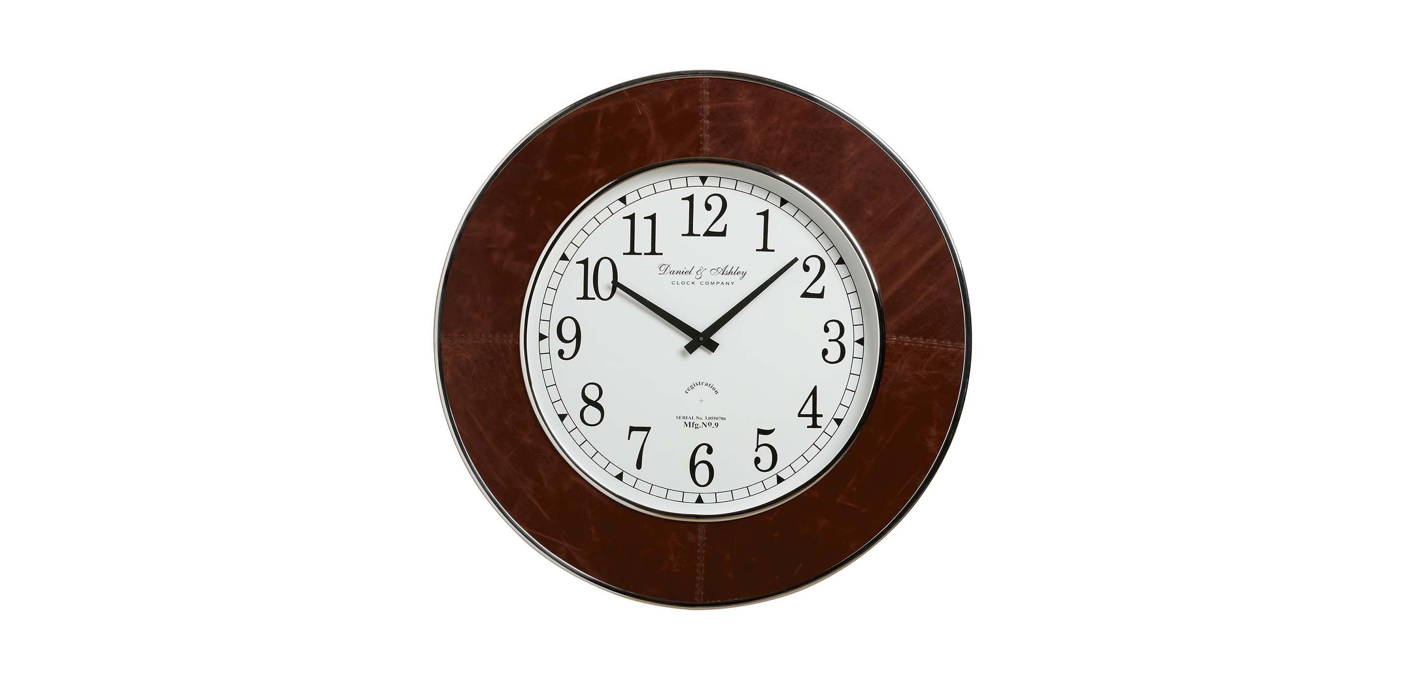 Leather wall clock clocks images leather wall clock largegray amipublicfo Gallery