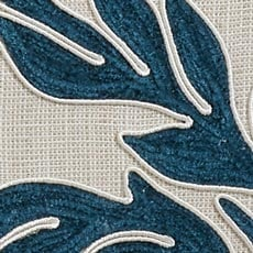Teal Embroidered Linen Pillow