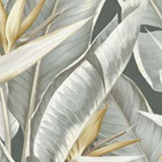 Grey Arcadia Banana Leaf Wallpaper