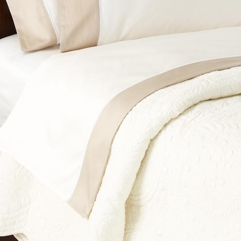 Hayden Queen Flat Sheet, Ivory/Flax Product Thumbnail