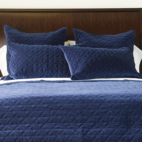 Gresham Navy Velvet Coverlet And Shams Quilts