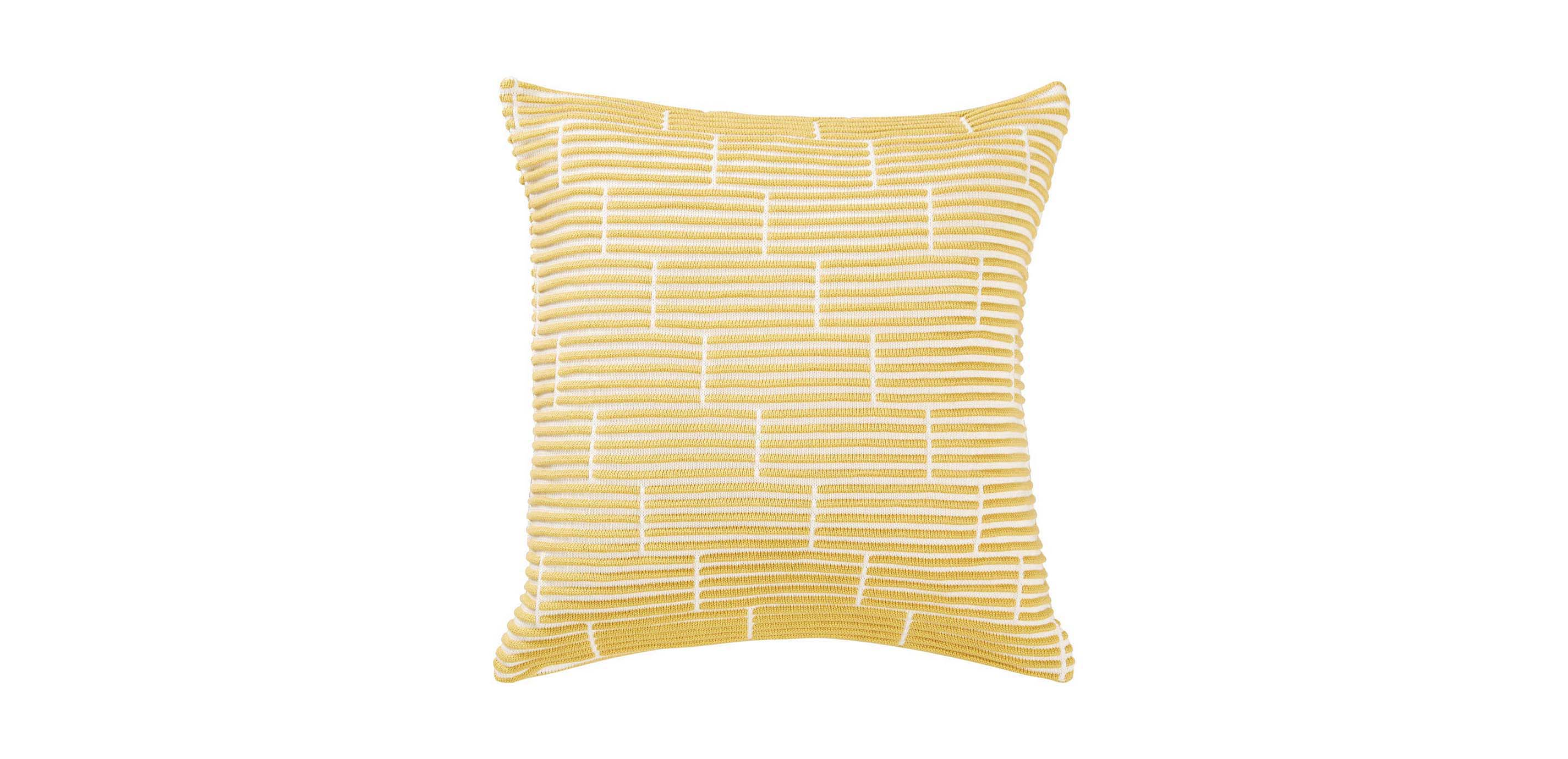 Yellow Brick-Pattern Throw Pillows