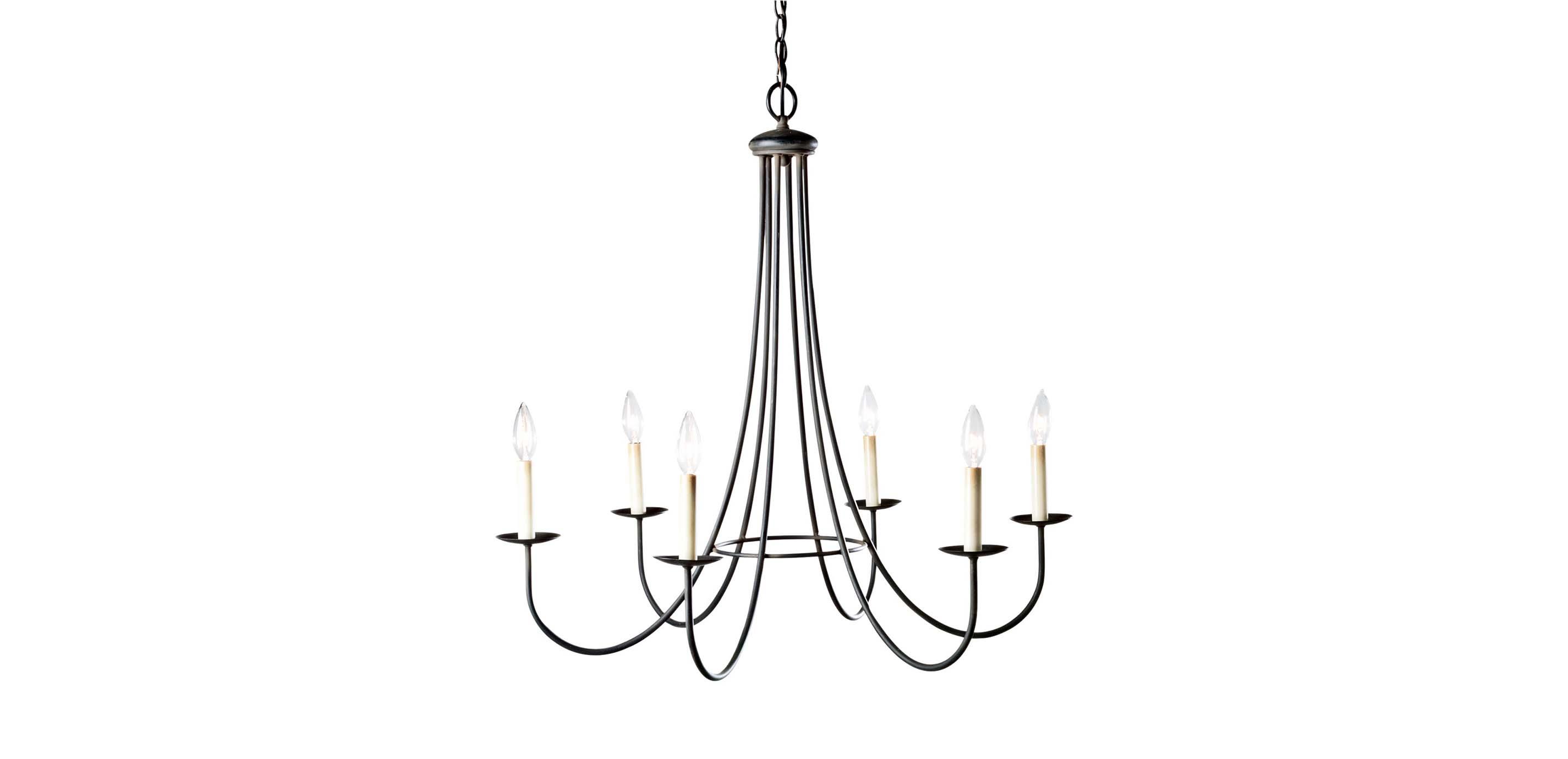 Six light iron chandelier selected 1