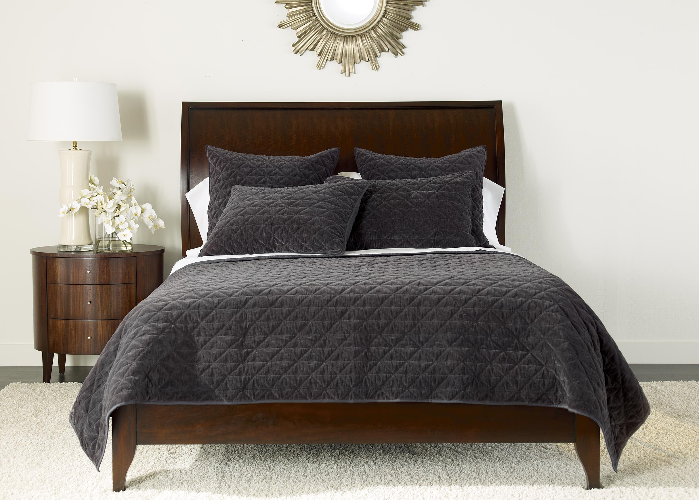Gray Velvet Coverlet : Gresham charcoal velvet coverlet and shams quilts