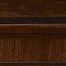 Carrington (598): Rich brown stain, extensive decorative veneers. Sanders Dining Table