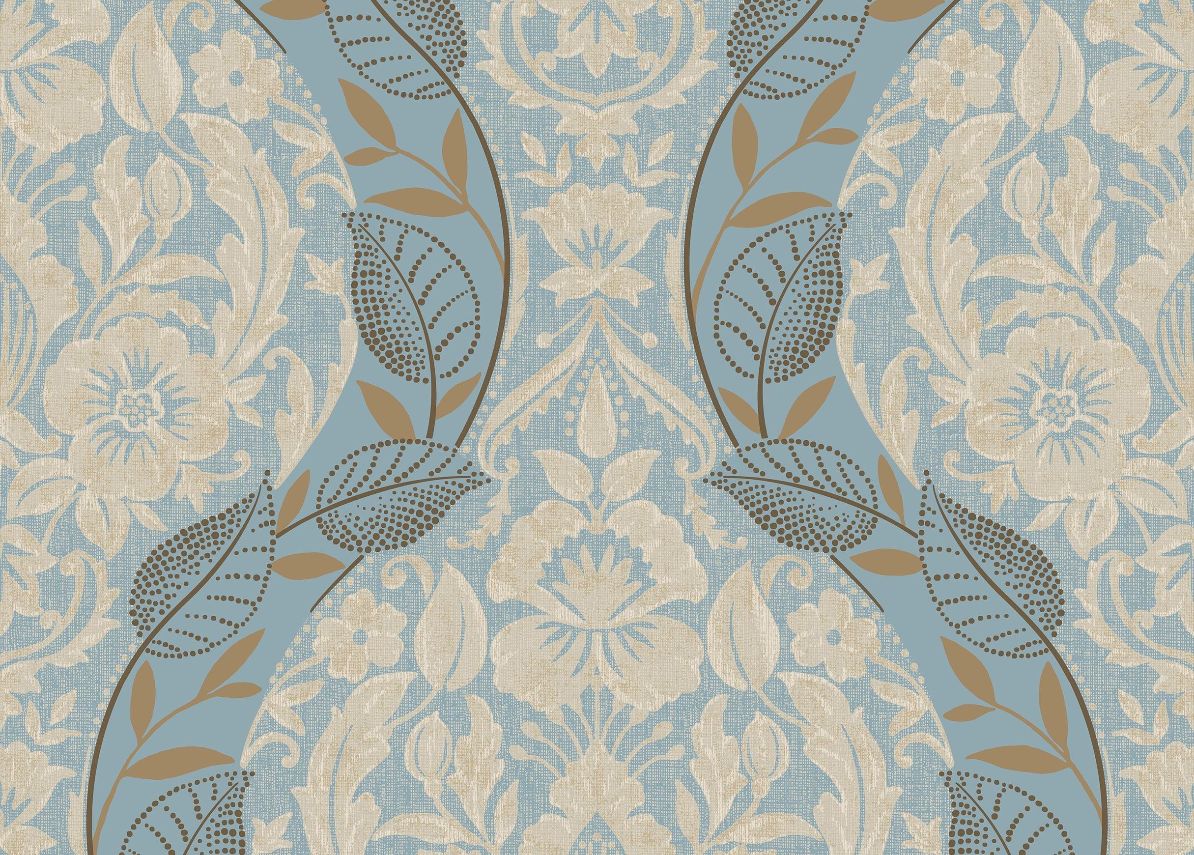 Leafy Damask Wallpaper Leaf Pattern Wallpaper Ethan Allen