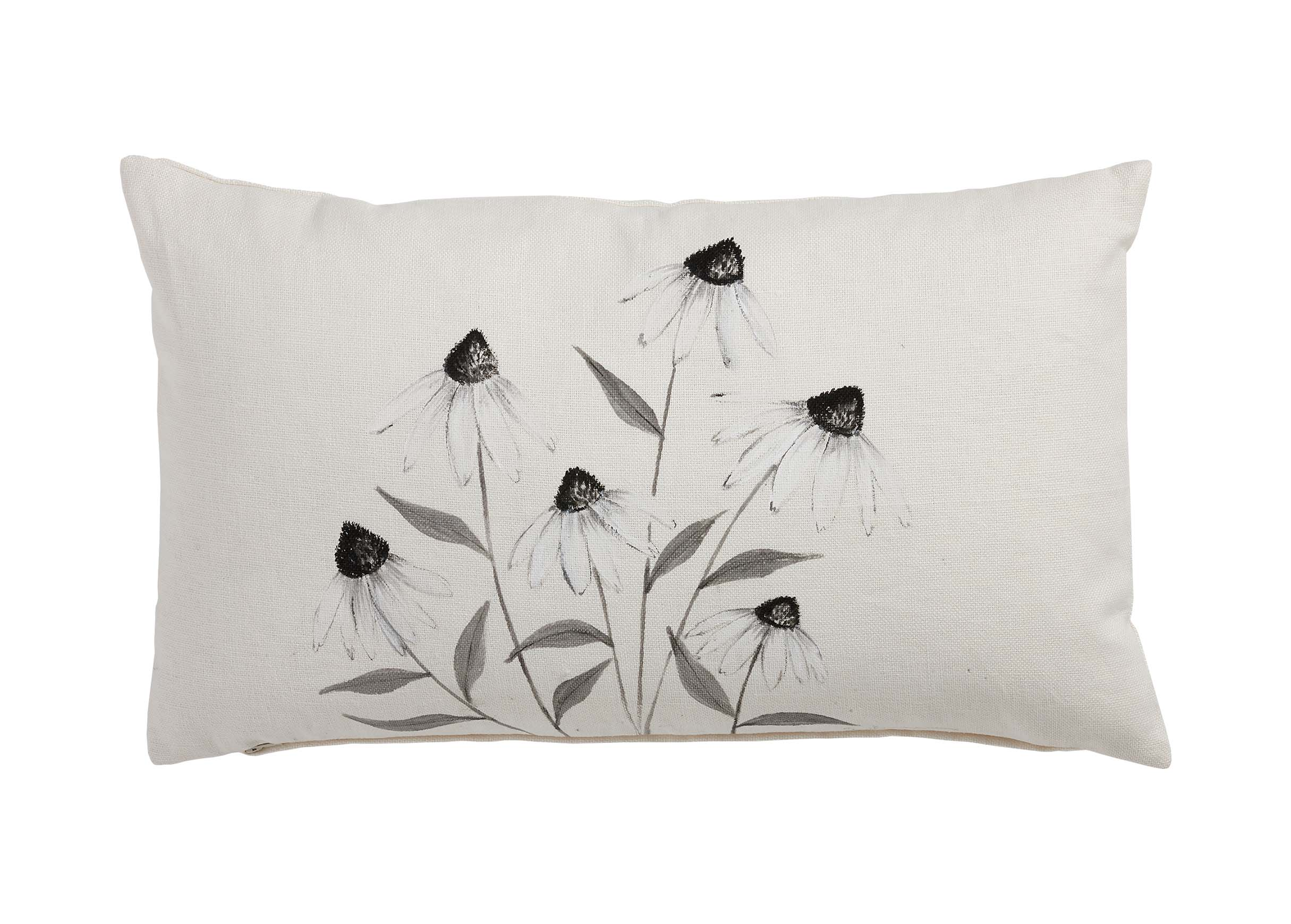 Hand Painted White Cone Flower Pillow Pillows Ethan Allen