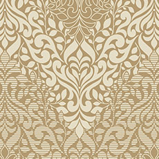 Metallic Gold with Off-White Folklore Wallpaper