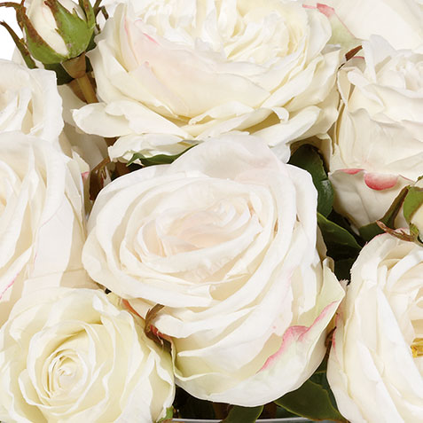 White Mixed Roses in Glass