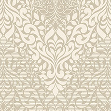 Beige with Off-White Folklore Wallpaper