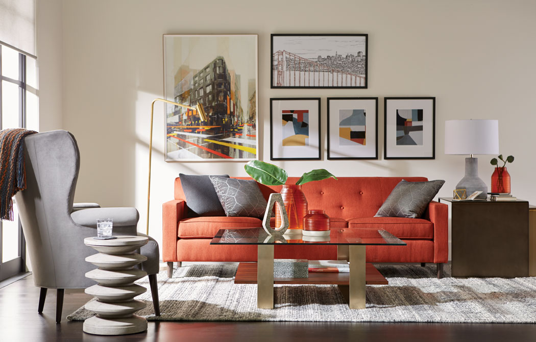 Gray and Orange Living Room Main Image