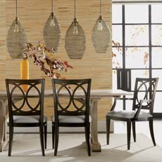 Eclectic Dining Room with Rustic Notes Tile